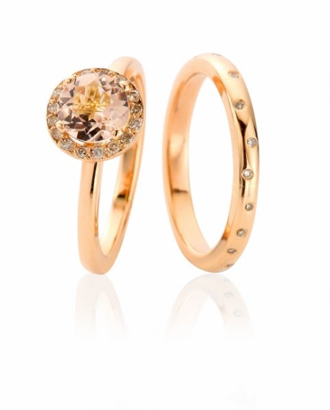 Handmade rose gold, morganite and diamond engagement and wedding rings