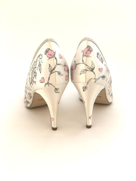 Blush pink and grey design - Beautiful Moment hand painted wedding shoes