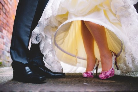 Magenta painted lace design - Beautiful Moment hand painted wedding shoes