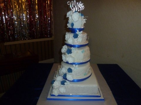 five tier royal blue and white - Amethyst Cakes
