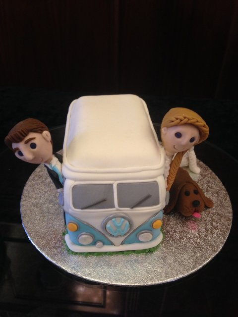 Campervan Cake with fondant Bride and Groom