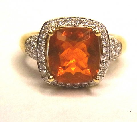 Fire opal and diamond cluster ring £1600 - N.Bloom & Son