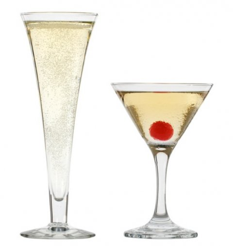 Contemporary Martini and Hollow Stem Champagne Flute - Butterflies Catering Equipment Hire