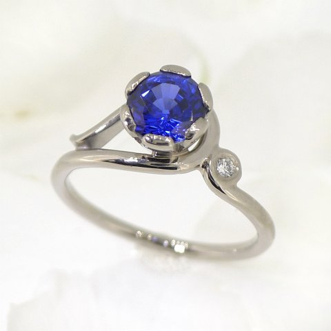 Blue Sapphire (lab grown) and Diamond Engagement Ring - Lilia Nash Jewellery