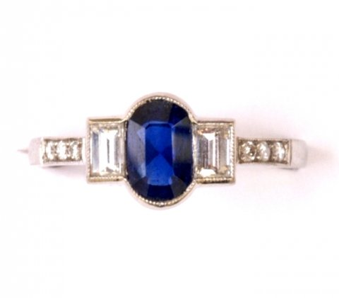 Sapphire, baguette diamond and platinum ring 1997 £2950 - N.Bloom & Son