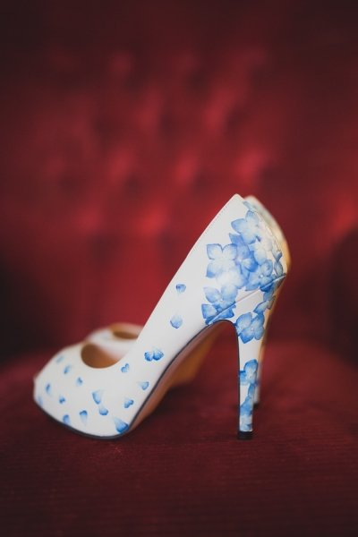 blue hydrangea petal shoe design - Beautiful Moment hand painted wedding shoes