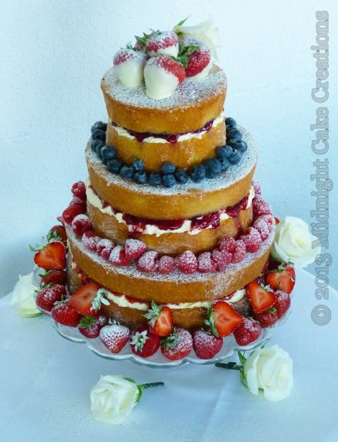 'Naked' wedding cake adorned with fresh fruit - simple and tasty - Midnight Cake Creations
