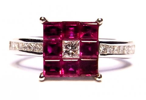 Square-cut ruby and Princess-cut diamond ring £1595 - N.Bloom & Son