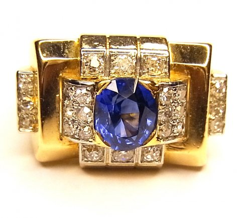 1040s sapphire, diamond & pink gold ring £3950 - N.Bloom & Son