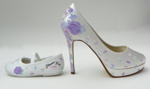 mother and daughter matching shoes - Beautiful Moment hand painted wedding shoes