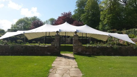20m x 15m White Stretch Tent with all sides up - CGSM Events