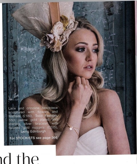 Beige lace bridal headpiece on SWDmagazine - Tocofashion