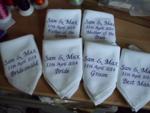 Personalised Napkins - top table - Designs by SAZZ
