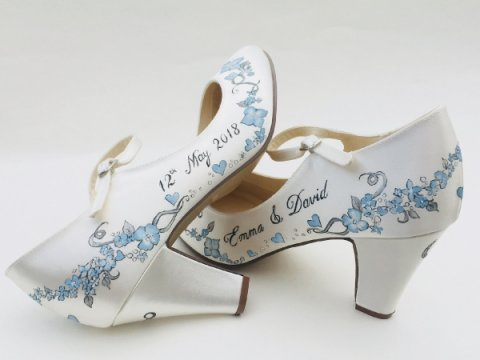 blue floral design with wedding names and date - Beautiful Moment hand painted wedding shoes