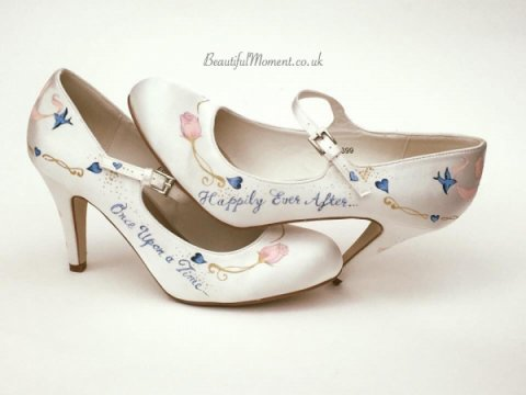 Cinderella style shoes - Beautiful Moment hand painted wedding shoes