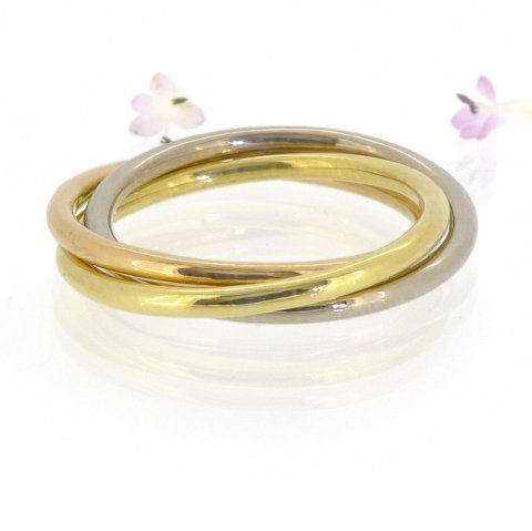 Gold Trilogy Wedding Ring in 18ct Rose, White and Yellow Gold - Lilia Nash Jewellery