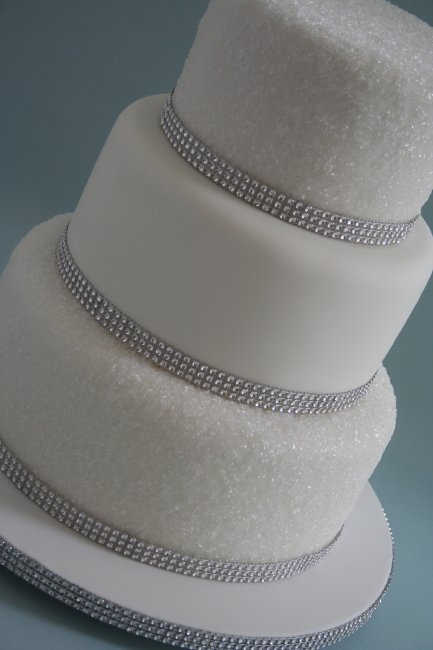 3 Tier White Sparkly Wedding Cake with faux Diamante trim - Dream Cake Designs (Dianne Stanley)