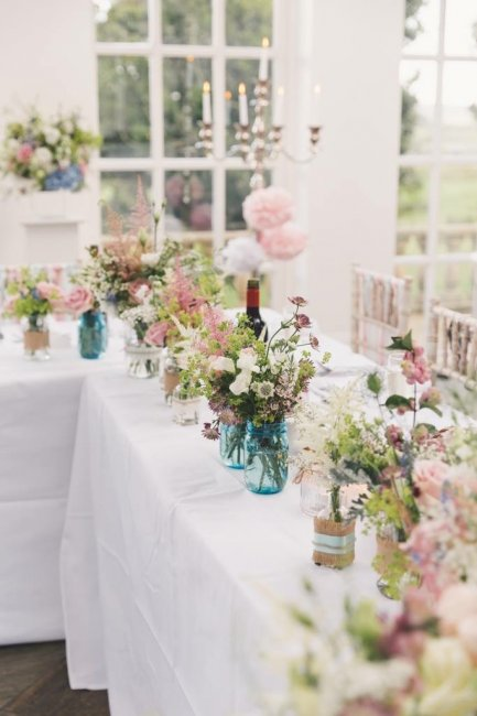 Decorated Jam Jars filled with flowers - Pure Ground Flowers