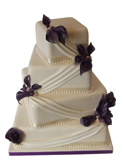 Offset square Wedding Cake with Calla Lillies