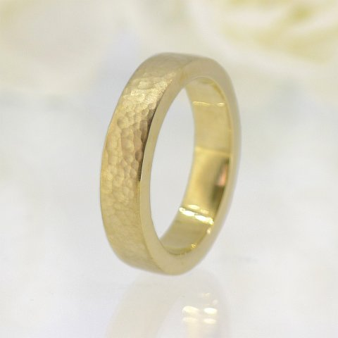 Men's Hammered Flat Wedding Band - Lilia Nash Jewellery