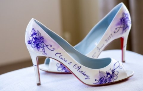 Purple painted design onto Louboutin shoes - Beautiful Moment hand painted wedding shoes