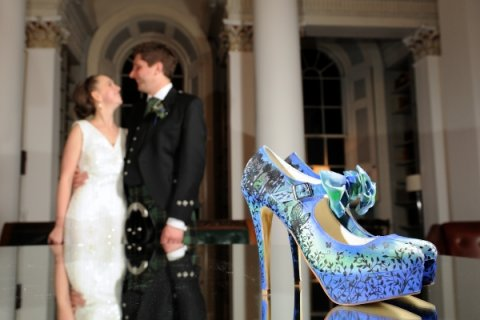green and blue fairy woodland theme - Beautiful Moment hand painted wedding shoes