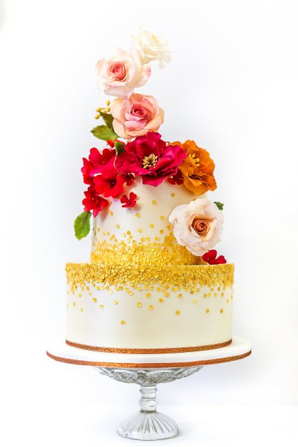 Decedent in Gold sequins and Red Roses wedding cake - Cobi & Coco Cakes