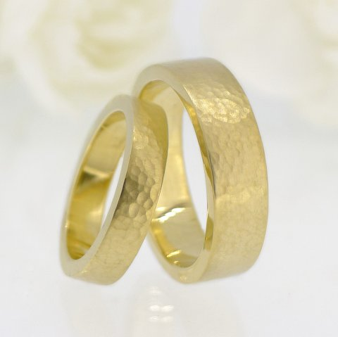 His and Hers Hammered Wedding Rings - Lilia Nash Jewellery