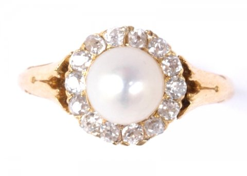 Edwardian natural pearl and diamond cluster ring circa 1910 £1450 - N.Bloom & Son