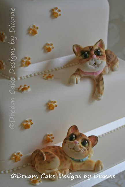 2 Tier White 'Quirky Cats' Wedding Cake ... cats modelled from photographs of the couples own cats - Dream Cake Designs (Dianne Stanley)