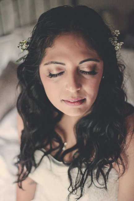 Natural bridal hair and makeup - loose curls, defined eyes with lashes - Jax-Glam Beauty