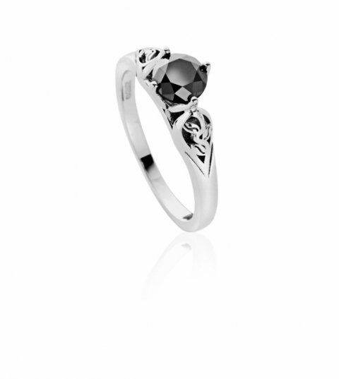 Bespoke 18ct white gold and black diamond engagement ring