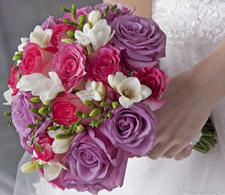 Beautiful lpink and purple brides bouquet - Bottom Of The Garden Flowers