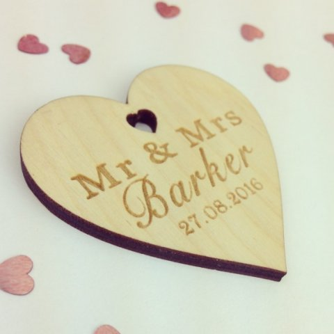 Personalised Wooden Wedding Table Confetti - Hearts and Home
