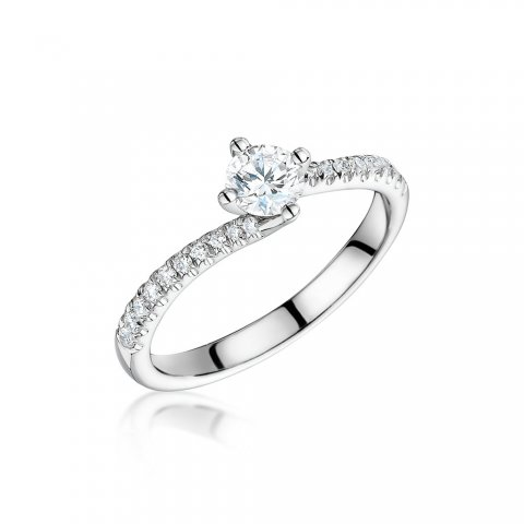 Diamond Shoulder Twist Engagement Ring - Laings