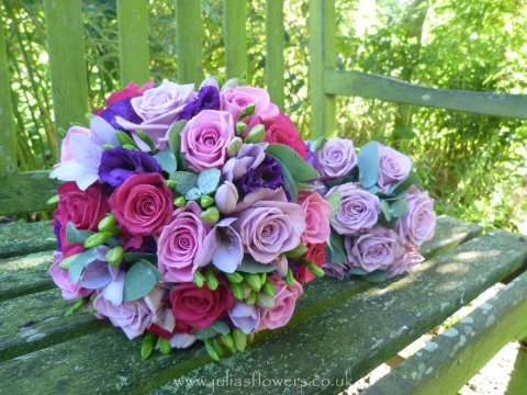 Pink and Lilacs Bouquet and Maids posy