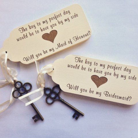 Will You Be My Bridesmaid (MOH) Vintage Key - Hearts and Home