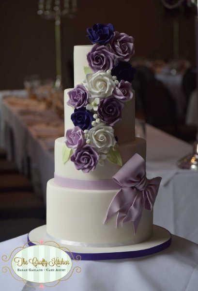 Purple Roses Wedding Cake - The Crafty Kitchen