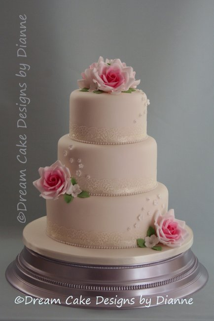 3 Tier White Wedding Cake wth pink sugar roses and delicate white blossoms - Dream Cake Designs (Dianne Stanley)