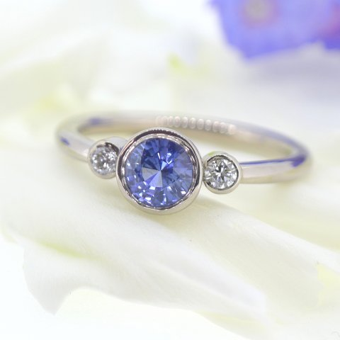 Sapphire and Diamond Engagement Ring - Lilia Nash Jewellery