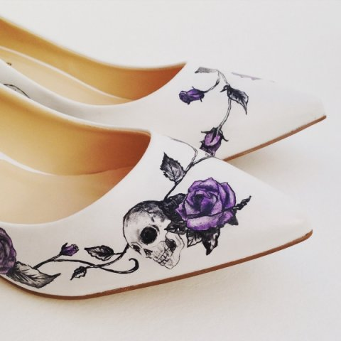 skulls and roses gothic wedding theme - Beautiful Moment hand painted wedding shoes