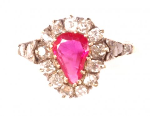 Victorian Burma ruby and old-cut diamond ring £3400 - N.Bloom & Son
