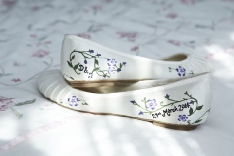 hand painted wedding flat shoes - Beautiful Moment hand painted wedding shoes