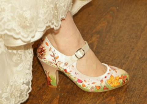 Autumn wedding theme shoes - Beautiful Moment hand painted wedding shoes