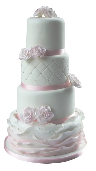 Delicate Roses & Ruffles Wedding Cake - Cakes Individually Iced