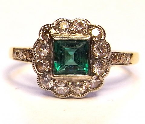 Edwardian Colombian emerald and diamond ring £1250 - N.Bloom & Son