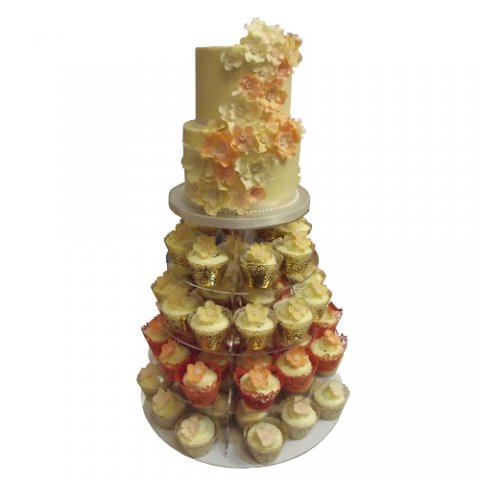 Double Tier Wedding Cake with Cupcake Tower