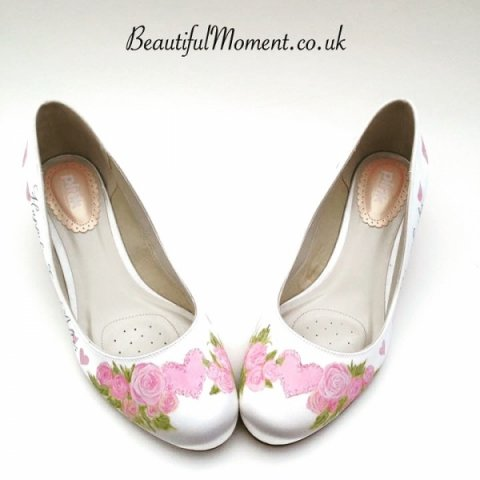 Pink hearts and roses design - Beautiful Moment hand painted wedding shoes
