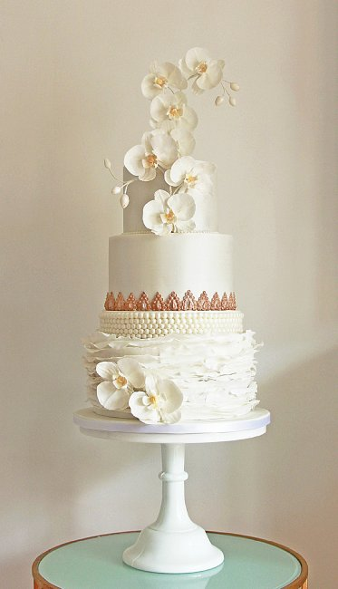 Orchids, Pearls and Ruffles Wedding cake with vintage gold. - Cobi & Coco Cakes