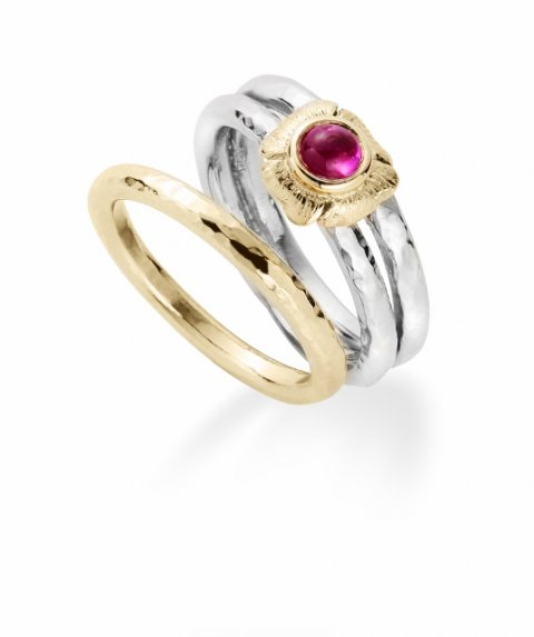 18ct gold poppy and ruby engagement and wedding ring set